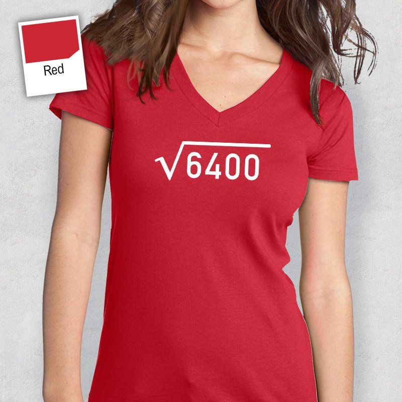 45th Birthday 1972 Square Root Idea Womens V Neck Present Or Gift For The Lucky 45 Year Old