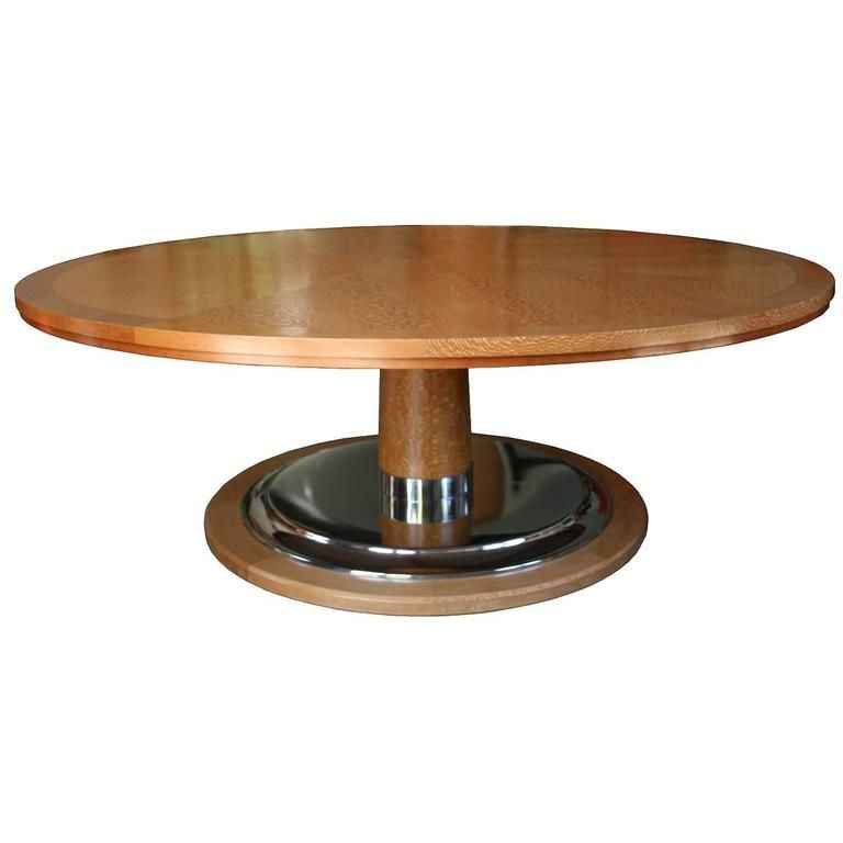 Modern Large Round Table On Pedestal With Chrome Plated Disc