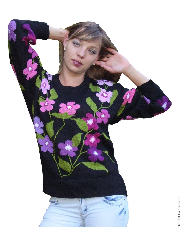 купить вязаный джемпер цветочный разгуляй вязаный джемпер