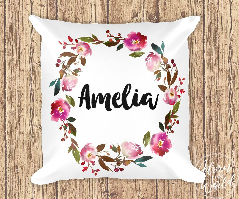 Personalized Name Pillow Custom Pillow Name Cushion Gift Etsy Custom Pillows Floral Cushions Cushion Gift