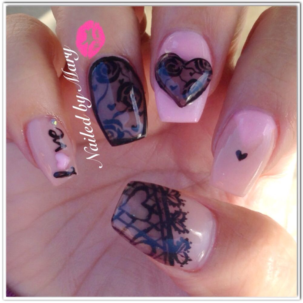 Sheer tint smokey valentine love lace coffin nails | Nailed by Mary ...