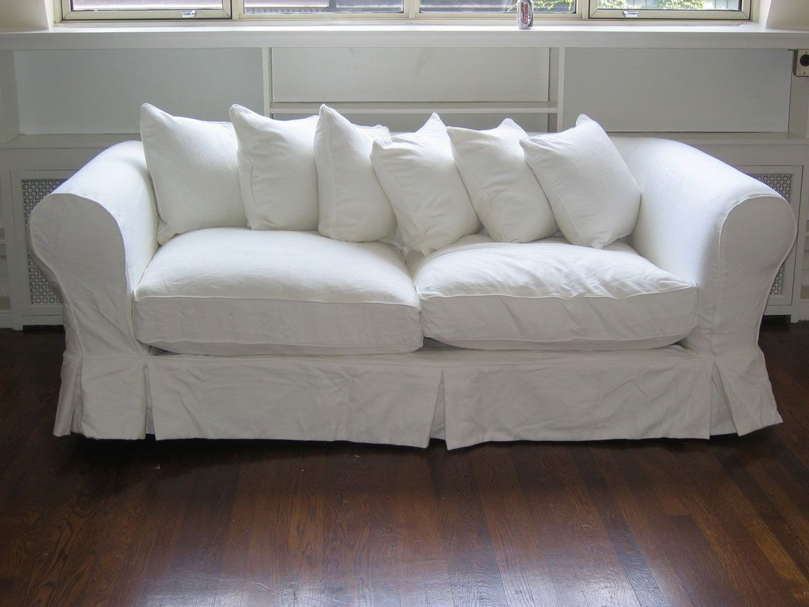 White fabric couch covers slipcovers pinterest white for How to cover furniture with fabric