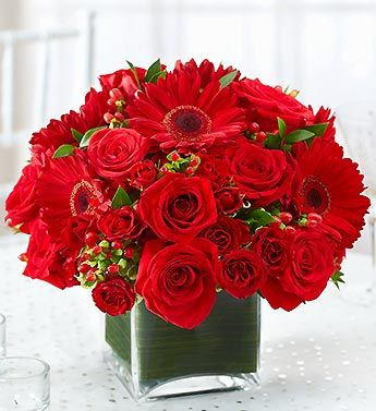 All Red Centerpiece One Dozen Fresh Red Roses 8 Red