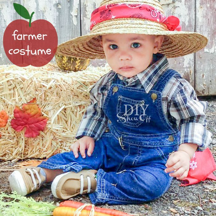 7d6b1b815 DIY Baby Farmer Costume | Halloween Fun | Farmer costume, Baby ...