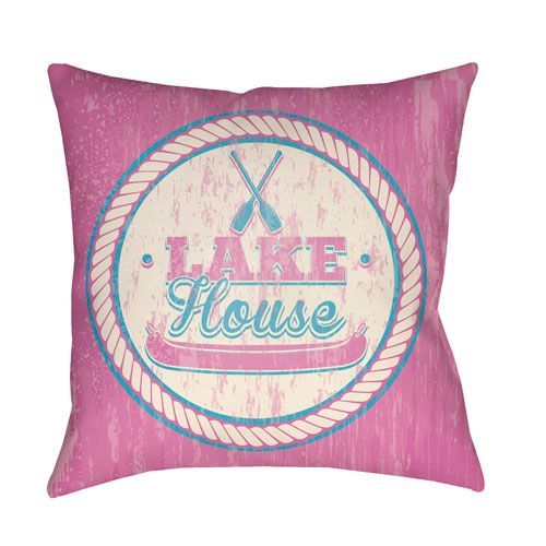 Litchfield Lake Fuchsia and Aqua 20 x 20 In. Pillow with Poly Fill