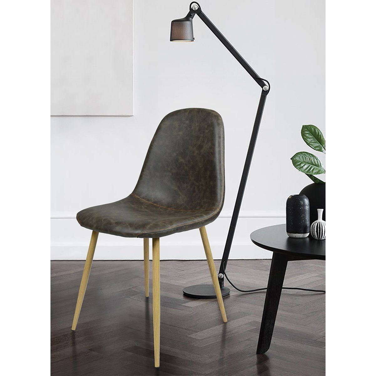 Dining Side Chairs Washable Pu Cushion Seat Metal Legs for