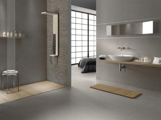 Abbinamenti pavimento grigio interni case bagno