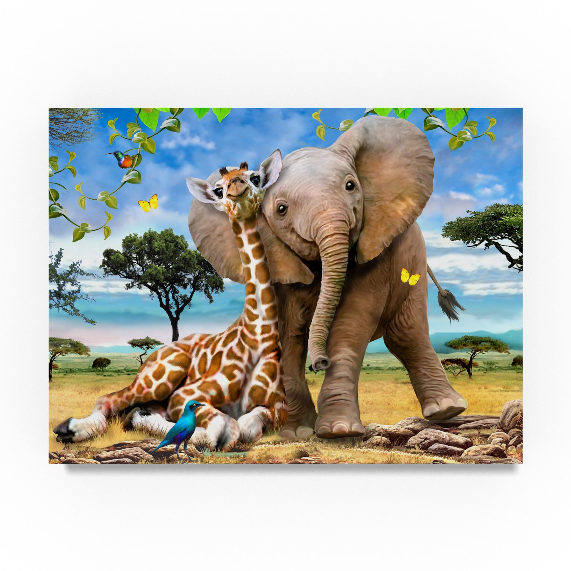 901856fea19 Howard Robinson  Elephants And Giraffes  Canvas Art (24x32 ...