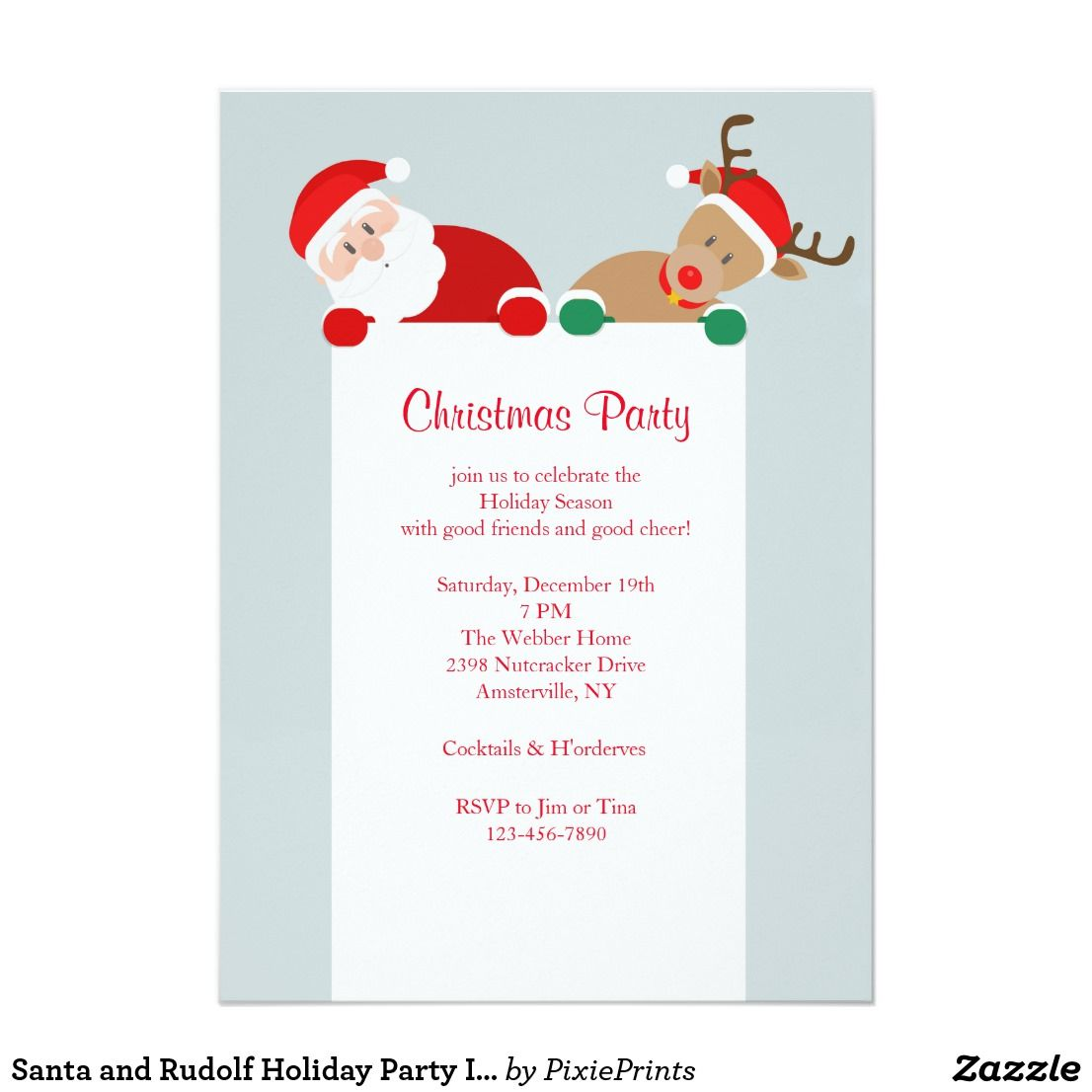 Santa and Rudolf Holiday Party Invitation A fun Christmas party ...