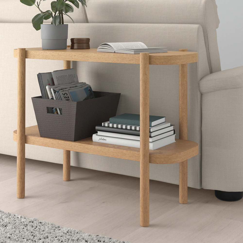 LISTERBY Console table, white stained oak, 36 1/4x15x28