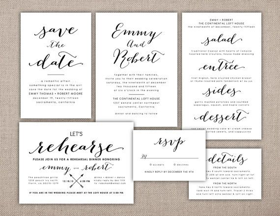 Wedding Suite Invitation Printable Bombshell Font by PeachPaper - Formal Invitation Letters