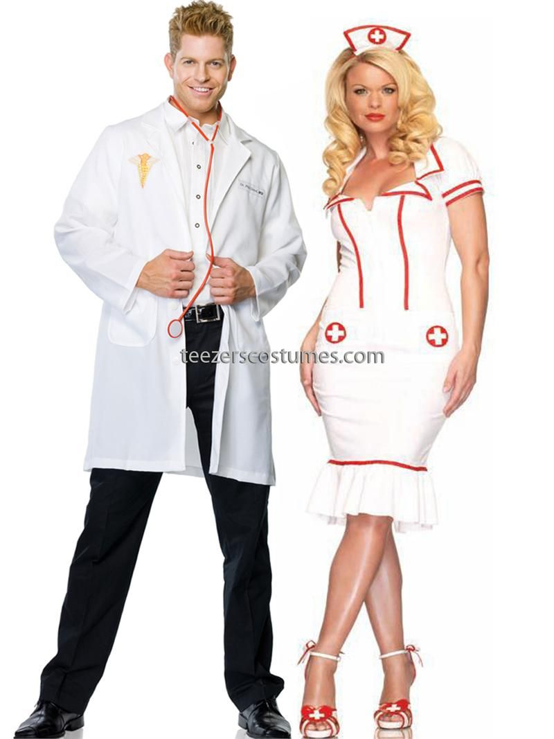 Doctor and Nurse Couples Costumes Adult Halloween Costumes Leg ...
