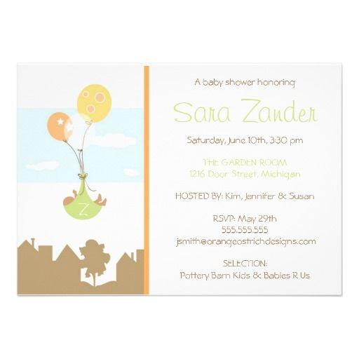 Monogram Balloon Baby Shower Invitation