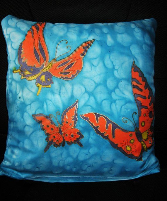 Butterflies Hand Painted Silk Pillowcase SALE by SilkMagic on Etsy, $29.00