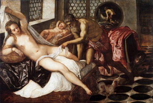 VENUS, VULCANO Y MARTE (1545-1550) de TINTORETTO. Vulcano irrumpe en la habitación y Afrodita intenta cubrirse con el lienzo. Su esposo se lo impide. Marte se ha escondido debajo de la mesa. Cupido, el culpable de la situación, finge dormir junto a la ventana. La estancia es la de un noble palacio veneciano, con vidrieras de colores en las ventanas. Se da un equilibrado uso  del color, en la distribución espacial y la combinación de focos luminosos.
