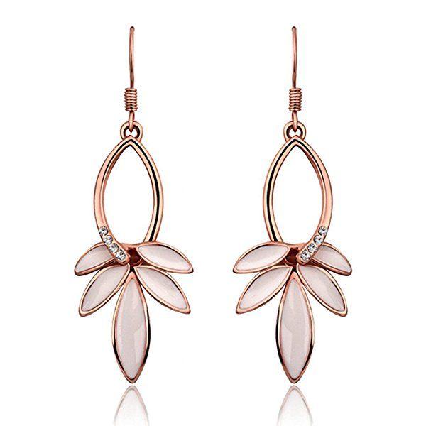 YEAHJOY Bling Jewellery Women's Rose Gold Plated Leaf Shape Oil Drip Drop Earrings