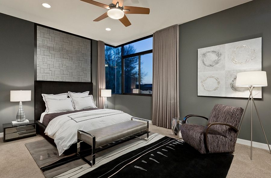 Masculine bedroom designs a mixture of color and for Bedroom ideas light grey