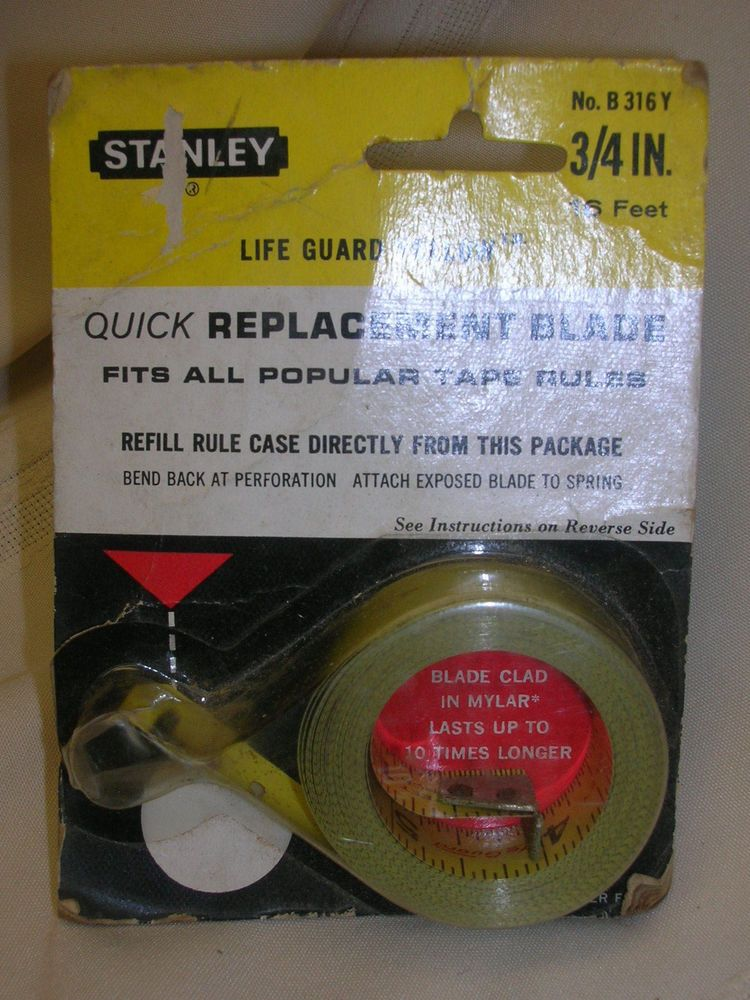 Vintage Stanley Quick Replacement Blade For Tape Measure 3 4 16