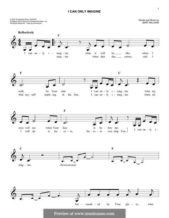 I Can Only Imagine Mercy Me Melody Line By Bart Millard Church