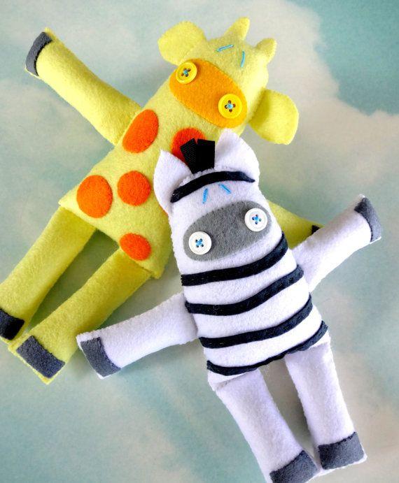 Giraffe & Zebra Felt Softies Sewing PDF e by preciouspatterns, $3.99