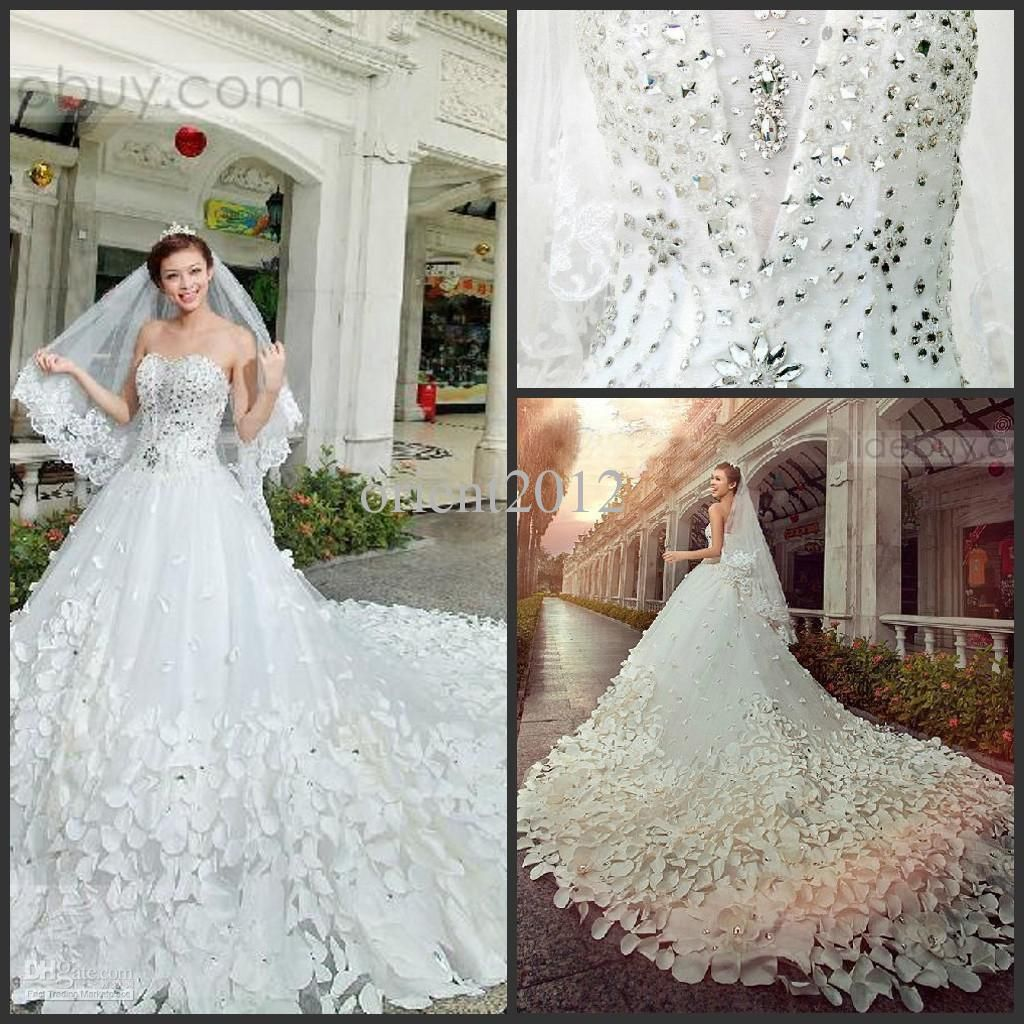 2016 Bling Bling Cathedral Train Free Veil Sweetheart Appliques