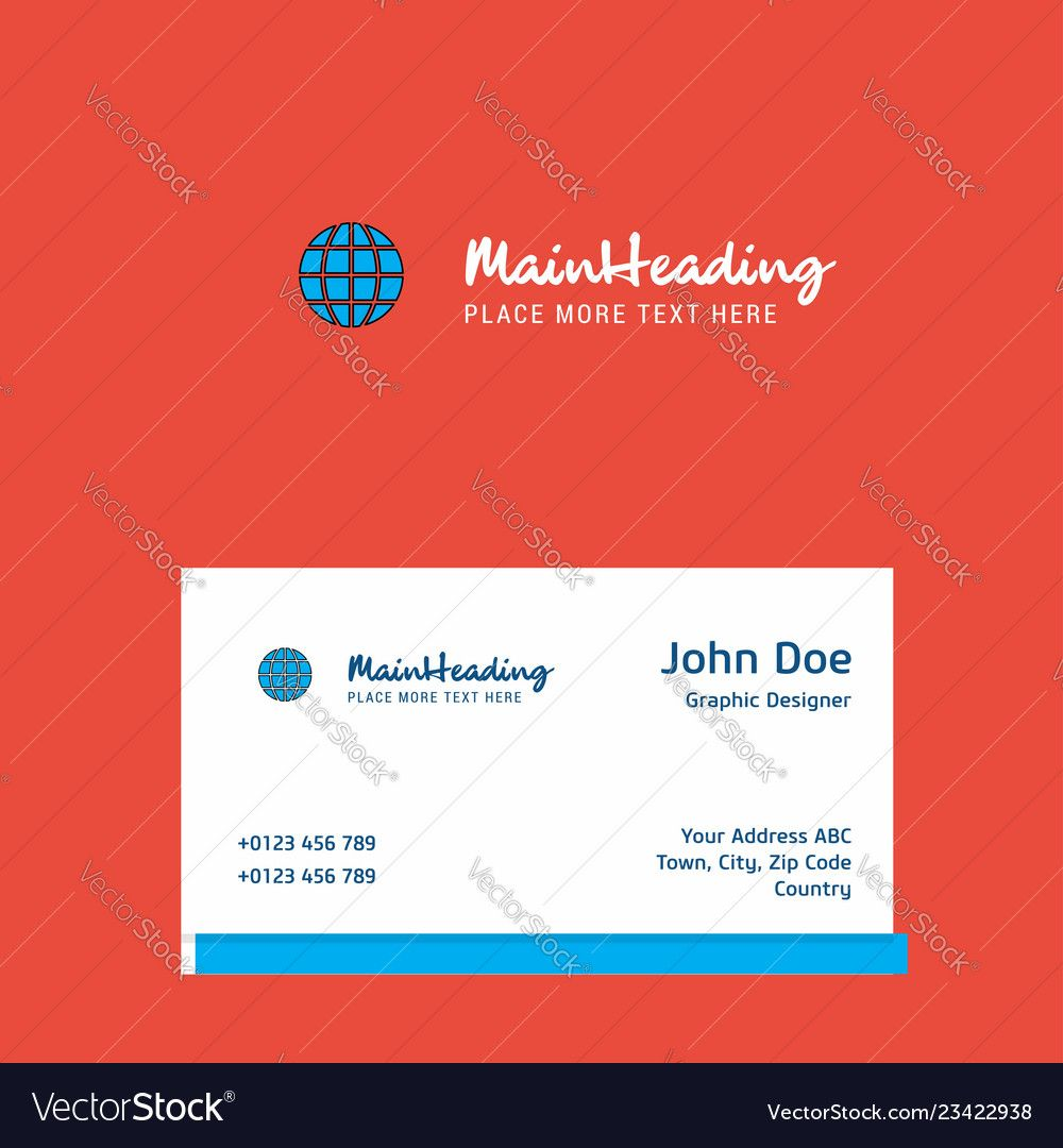 Globe Logo Design With Business Card Template Vector Image On Vectorstock For Adobe Illustrator Business Card T Business Card Template Globe Logo Card Template