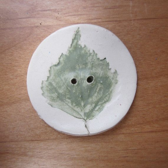 Soft Green Birch Leaf Texture Button by TerracottaToys on Etsy, £3.00