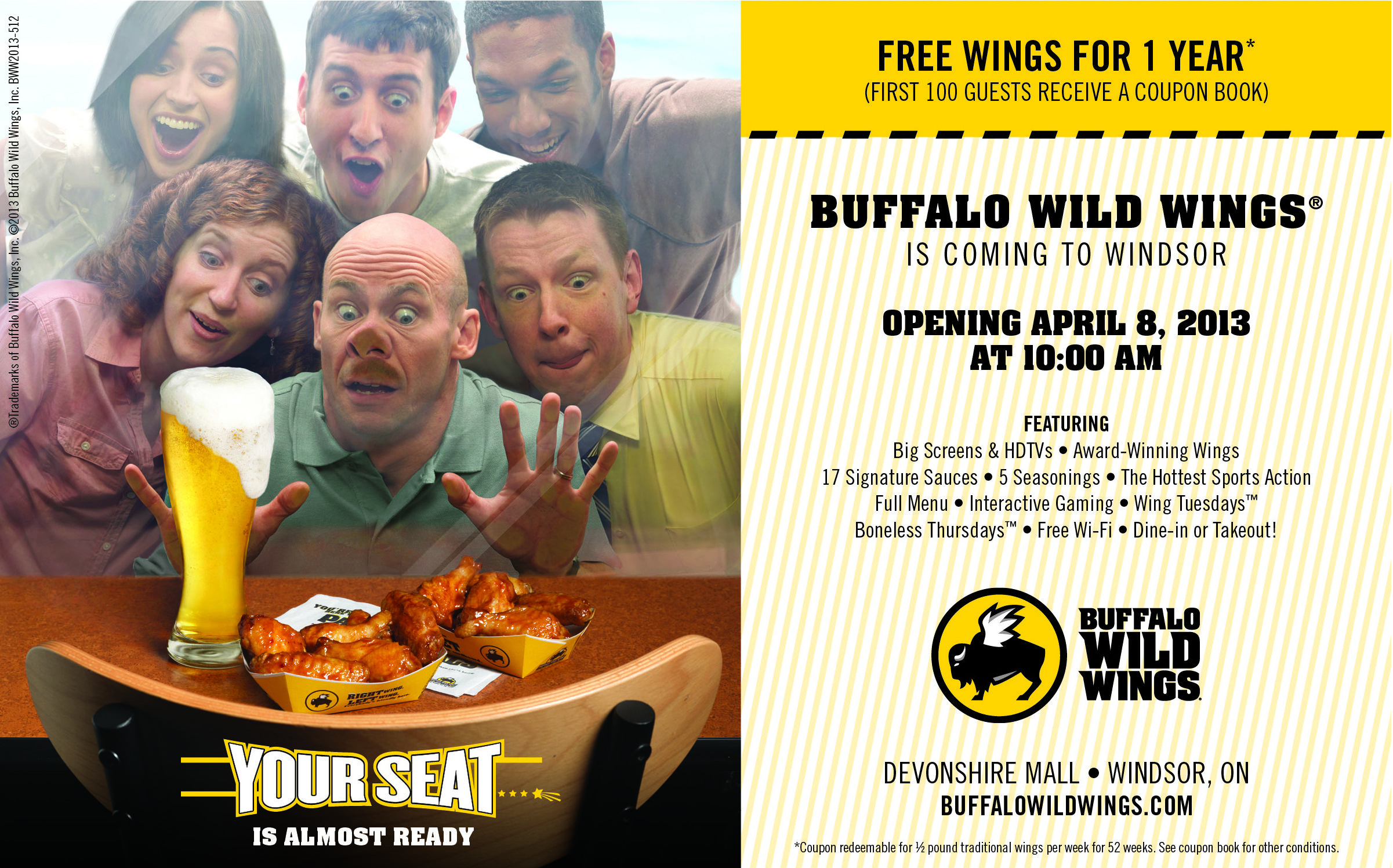 image relating to Buffalo Wild Wings Printable Coupons named Buffalo wild wings price reduction / Seashore car strong