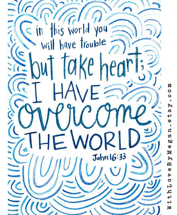 Handlettered 5x7 Scripture Cards But Take Heart I Have