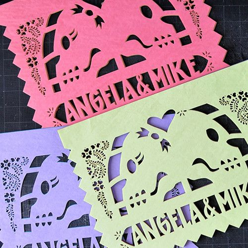 AMOR ETERNO personalized papel picado banners | Ay Mujer  Perfect for Dia de Los Muertos/Day of the Dead themed weddings, symbolizing lifelong commitment.  http://aymujershop.com/collections/weddings/products/amor-eterno-personalized-banners