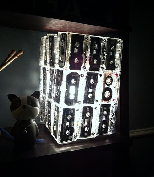 Handmade cassette tape lamp from - that looks surprisingly cool!
