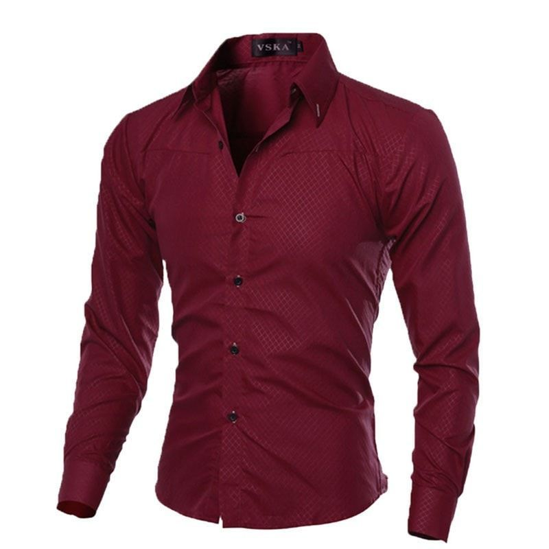 e689c0b8f561 Mens Slim Fit Shirt Casual Long Sleeve Shirts fanzhuan mens shirts for men