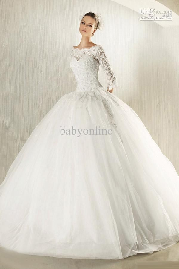 New Modest Long Lace Sleeves Ball Gown Wedding Dress Bridal Gown
