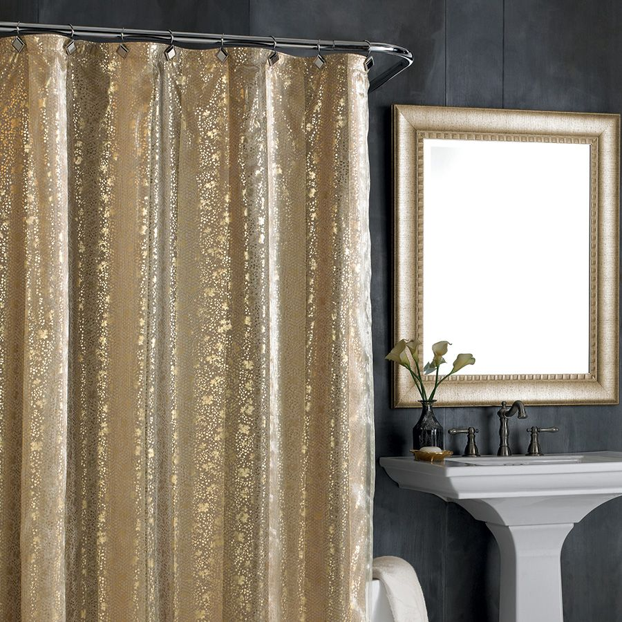 Coral And Grey Curtains Black Sparkle Shower Curtain