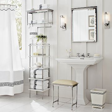 greek key shower curtain, pedestal sink, and storage tower | bath ...