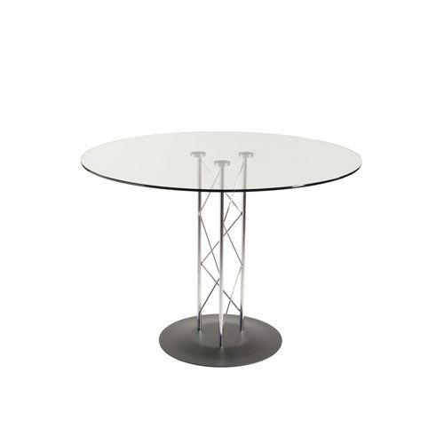 Trave 36 Inch Round Bar Table In Clear Tempered Glass With Chrome Column And Black Base Dining Table Glass Dining Table Round Bar Table