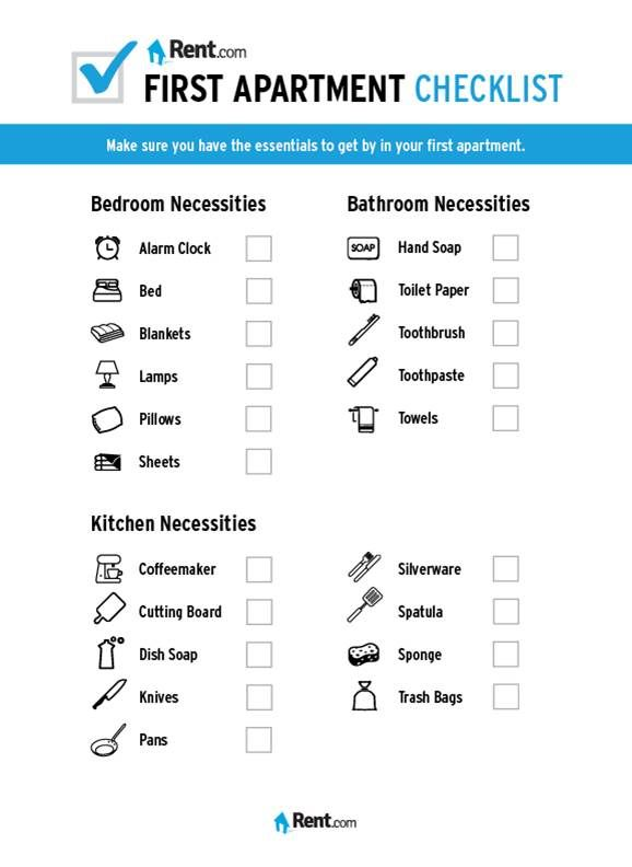 Your First Apartment Checklist Apartment Checklist First