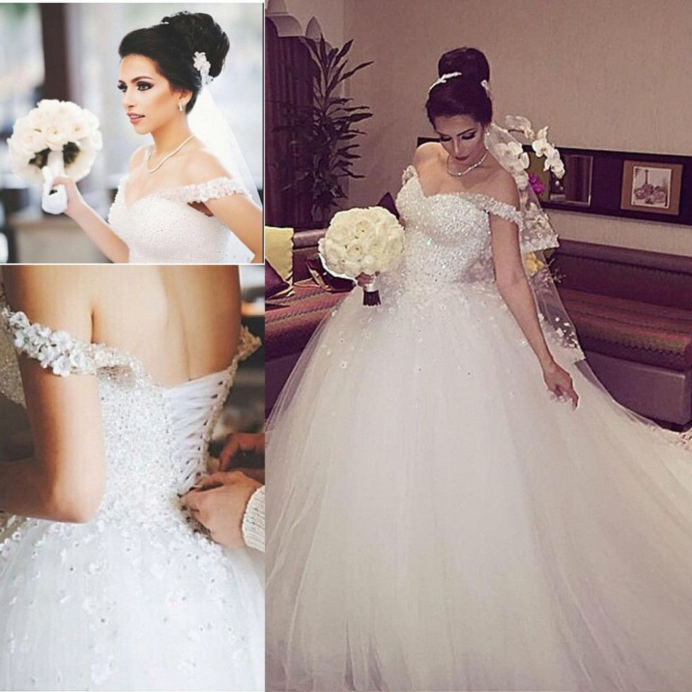Nice Charming White Tulle Beading Wedding Dress Sexy Off The Shoulder Bridal Gown Sexy Open Back Lace Up Wedding Dress