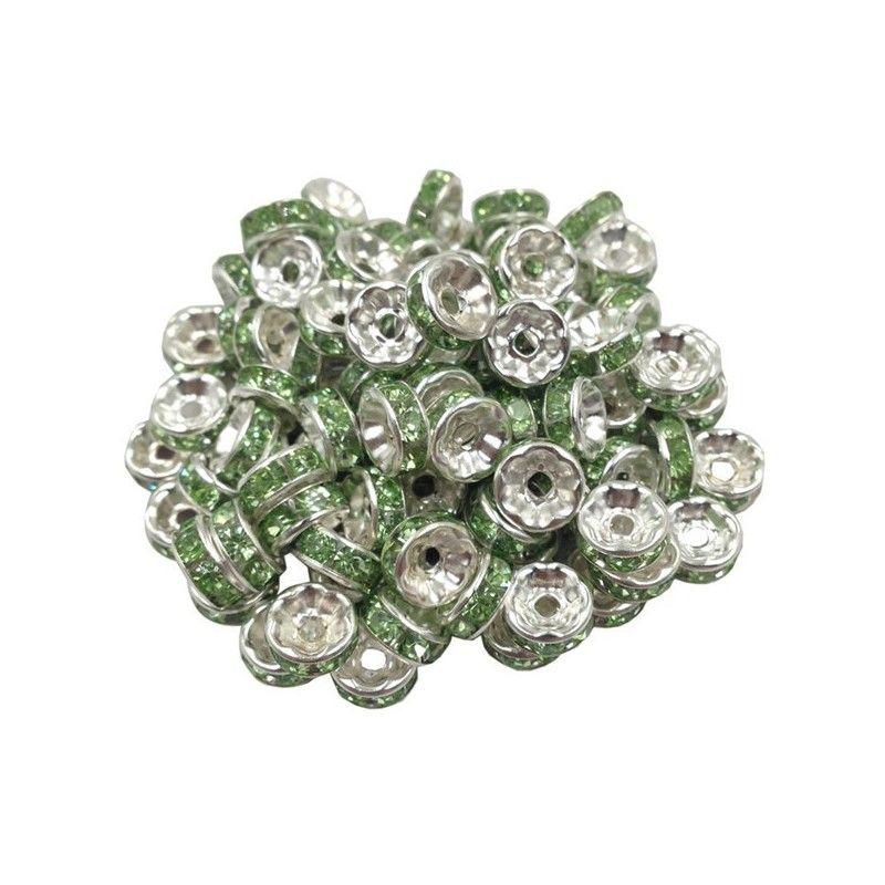 20 Perles Rondelle strass Argenté 8mm Couleur Rose Creation Bijoux Collier
