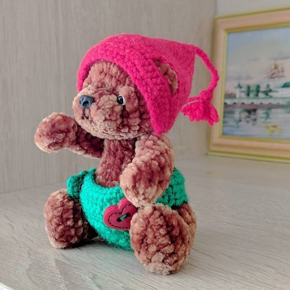 Teddy bear Miniature teddy bear Soft animal toy Bear toy Bear toy Toy Softy toy Amigurumi bear Interior toy Unique toy Gift girl #beartoy