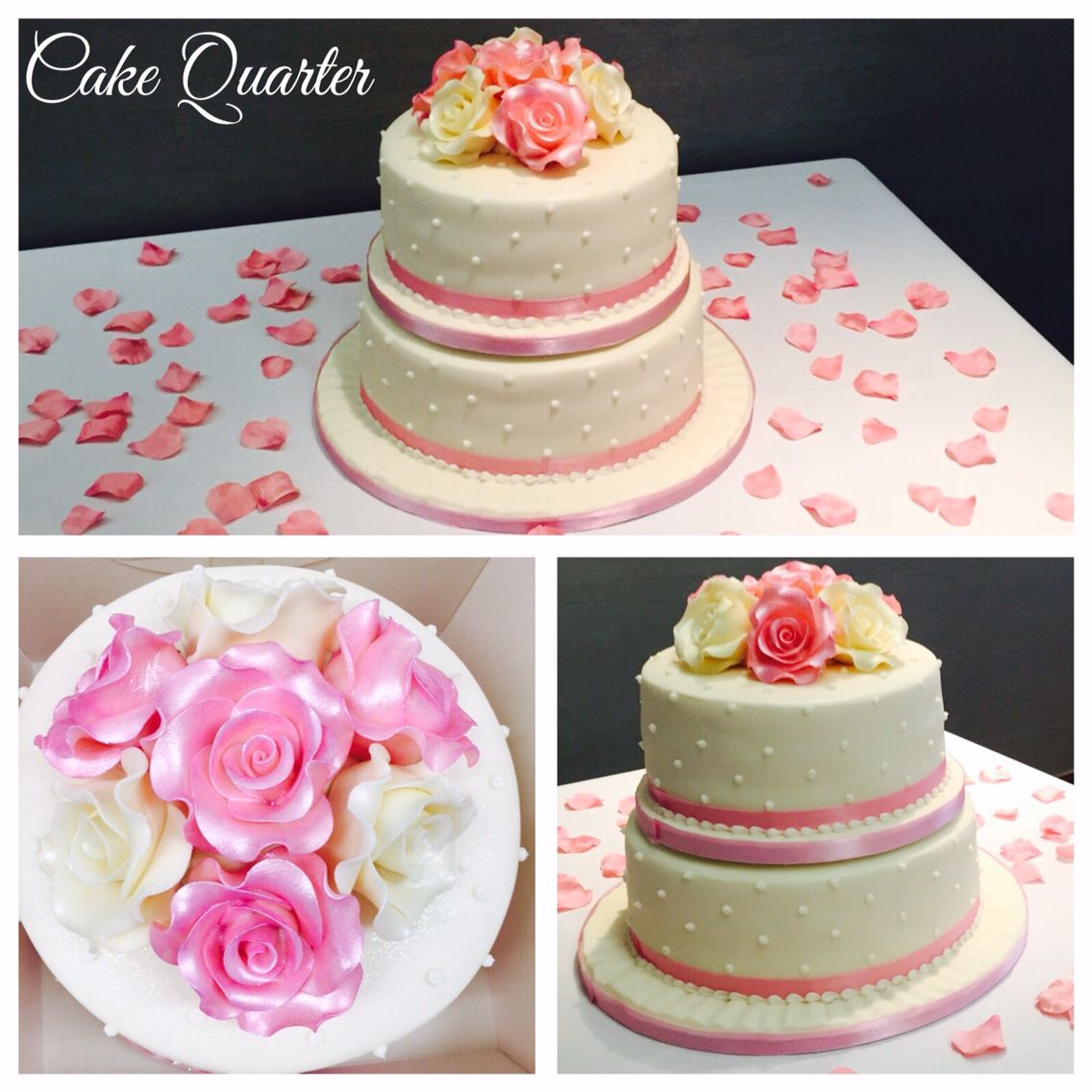 Elegant wedding cake with sugar roses.   Designed by Cake Quarter  Wedding cakes • Birthday Cakes.  www.cakequarter.co.uk 01215071645