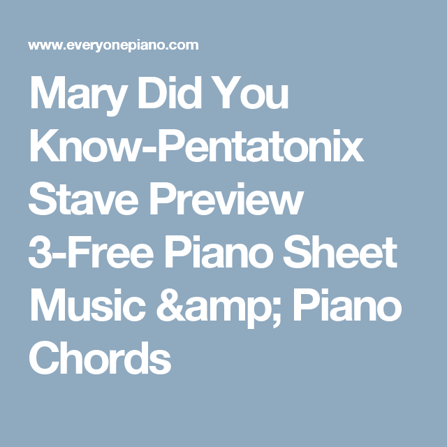 Mary Did You Know-Pentatonix Stave Preview 3-Free Piano Sheet Music ...