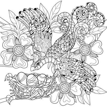 Zentangle dibujo pájaro en el nido. Doodle dibujado mano. — Vector de stock