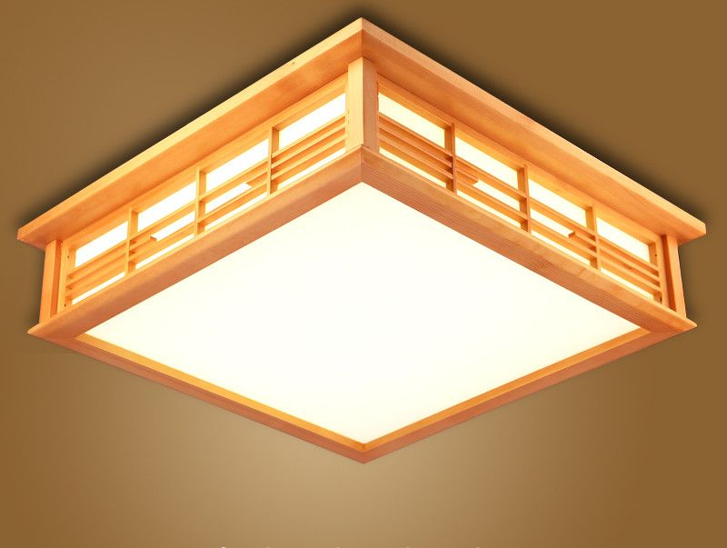 Anese Ceiling Lights Led Square 45 55cm Wasu Decor Shoji Lamp Wood And Paper Living Room Indoor Lantern Lighting In From