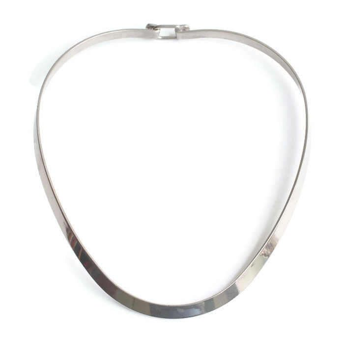 Silver Wide Flate Torque Necklace 69Yre5