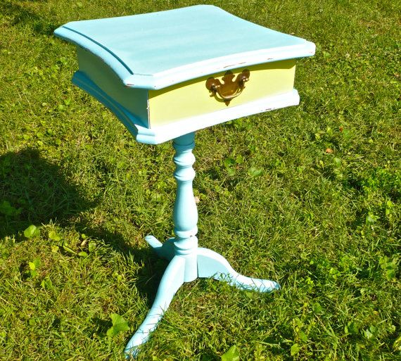 Painted Wood Table with Storage Drawer Accent by CasaKarmaDecor, $110.00