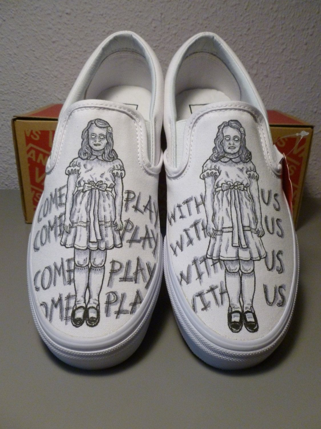 d864e13aac910 Custom Vans The Shining Grady Twins Handpainted by GraphicLust ...