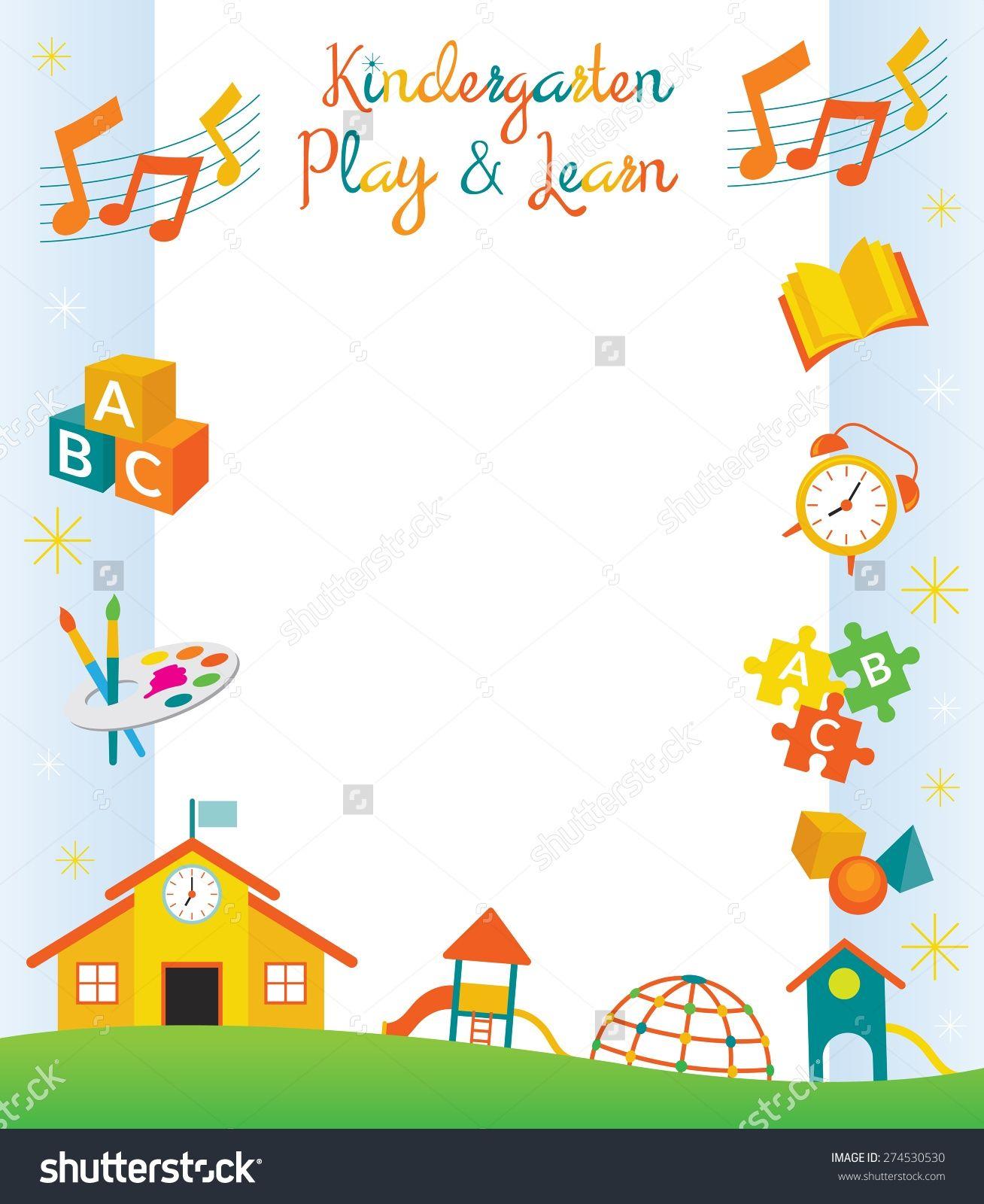 Kindergarten Preschool Kids Objects Border And Frame Education