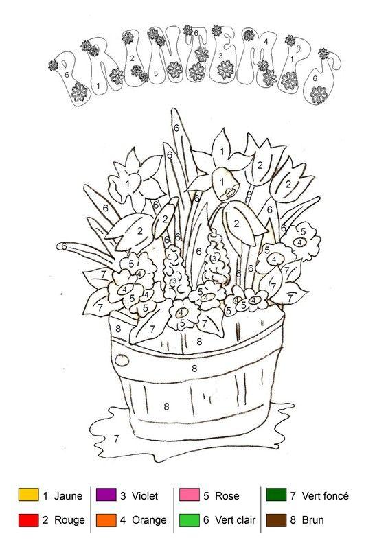 Coloriage magique bouquet de printemps pour aliya pinterest - Livre coloriage magique maternelle ...