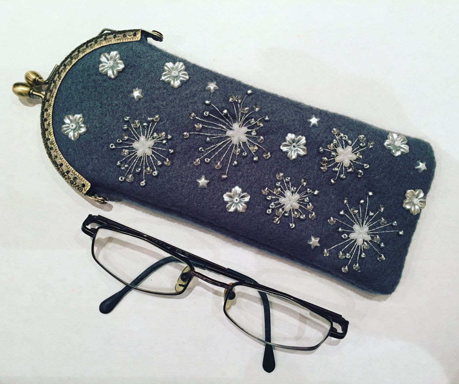 Embroidered glasses case mothers day grey white and